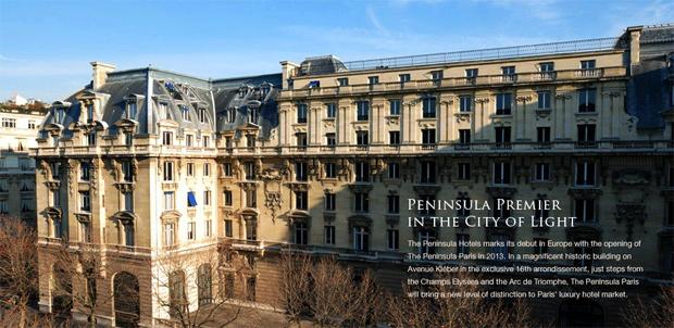 l 39 h tel the peninsula paris ouvrira en 2013. Black Bedroom Furniture Sets. Home Design Ideas